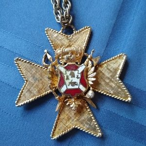 Large antique Coro Pendant and chain